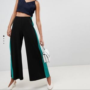 Wide Leg Pants with Contrast Stripe